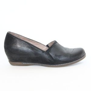Dansko Liliana Wedge sz 40 Black Burnished Leather